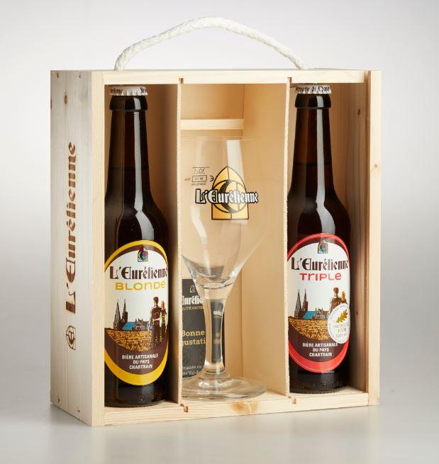 COFFRET BOIS PLEXI 2 bouteilles de Bière L'Eurélienne 33cl + 1 verre de dégustation 33cl