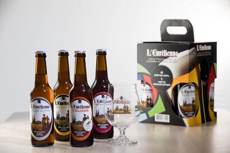 PACK DEGUSTATION 4 bouteilles 33cl de Bière L'Eurélienne + 1 verre 33cl