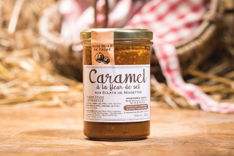 Caramel à la fleur de sel aux éclats de noisettes - 225g