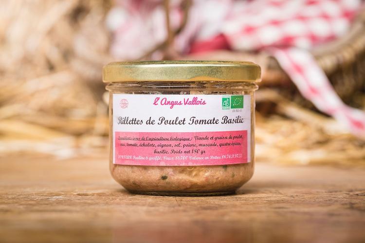 Rillettes poulet tomates basilic bio 100% poulet