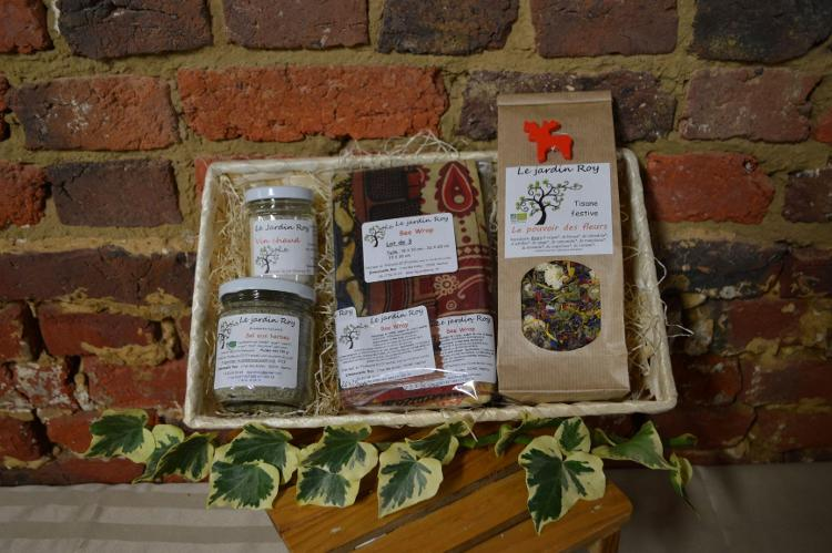 Coffret de Noël 1 tisane-3 beewraps-sel aux herbes-vin chaud