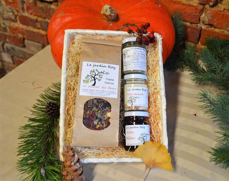 Coffret de Noël - 1 tisane et 3 petit pots (vin chaud-gelée-sel aux herbes) B