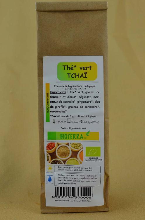 Thé vert Tchaï (Thé vert, fenouil, anis, réglisse, cannelle, gingembre, clou de girofle, coriandre, cardamome) 100g