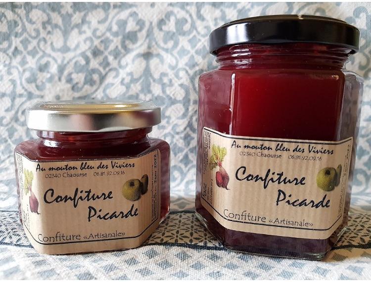 """Confiture Picarde """"Betterave rouge et Pomme"""" 220g"""