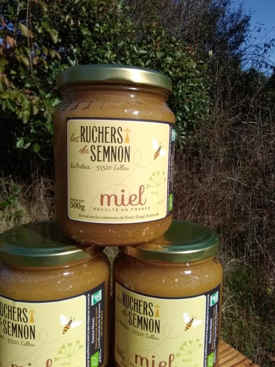 Miel d'été 500 gr récolte 2020 origine geographique:Rougé,Soulvache,Fercé