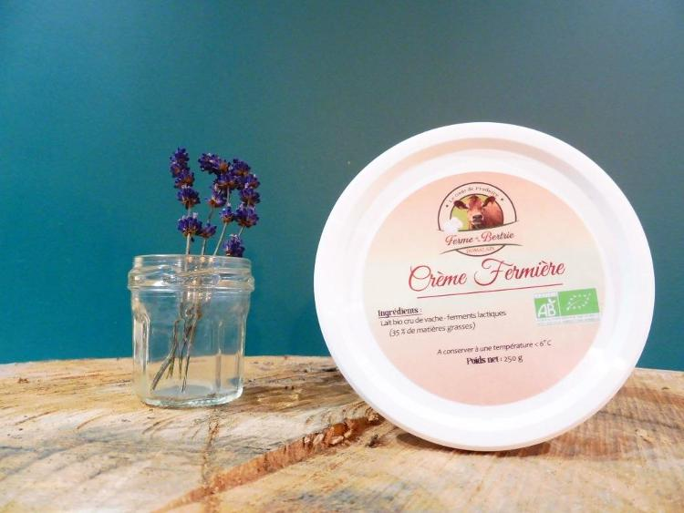 crème bio au lait cru fermier 250G ( type crème fraîche)