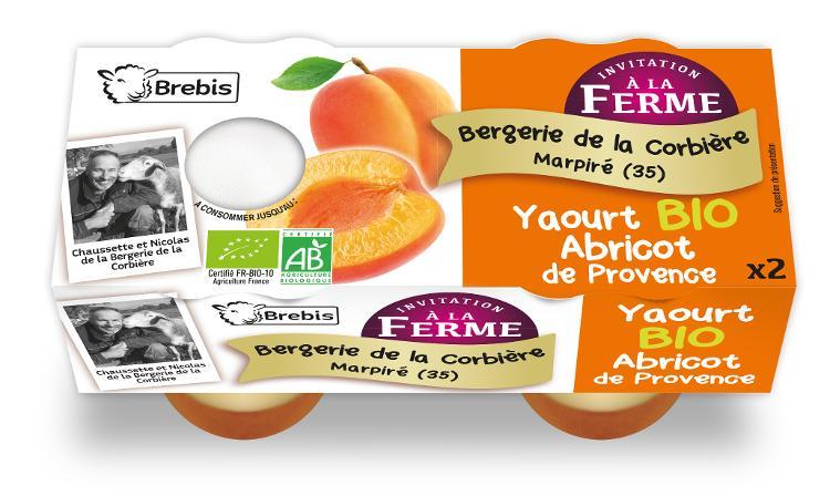 Yaourt Bio à l'abricot de Provence au lait de Brebis 2x125g