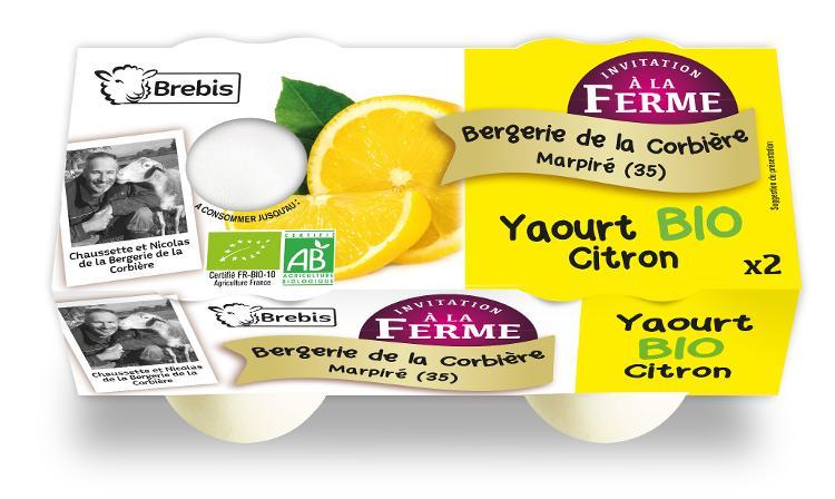 Yaourt Bio au citron au lait de brebis 2x125g