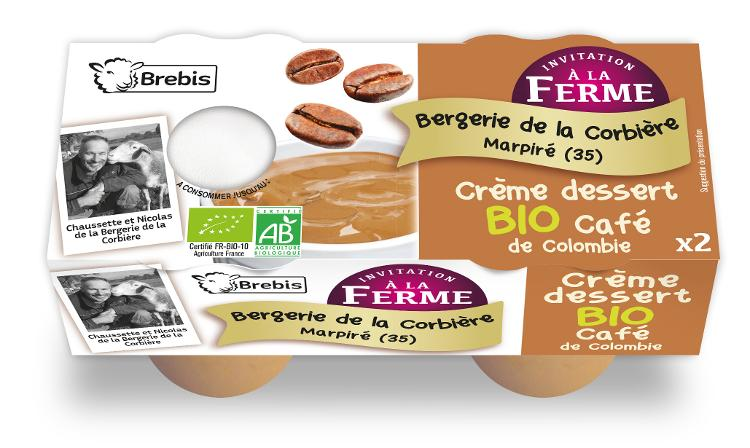 Crème dessert Bio au café de Colombie au lait de brebis 2x100g