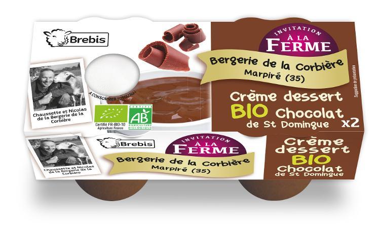 Crème dessert Bio chocolat de St Domingue au lait de Brebis 2x100g