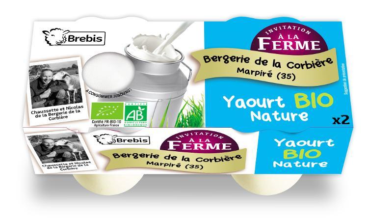 .Yaourt Bio nature au lait de brebis 2x125g