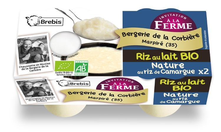 Riz au lait Bio nature au lait de brebis 2x125g