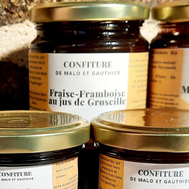 Confiture Fraises-Framboises au jus de Groseille 350g