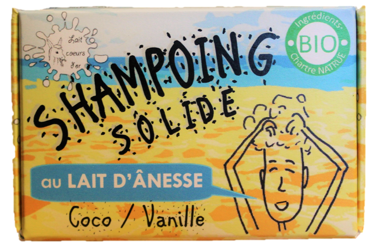 Shampoing solide au lait d'ânesse - Coco/vanille - 100 g