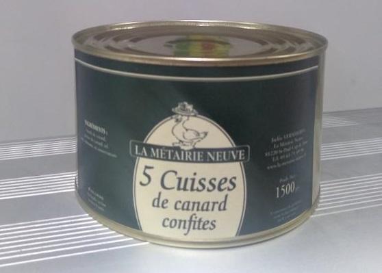 """5 Cuisses de canard de """"Barbarie"""" confites 1500 g"""