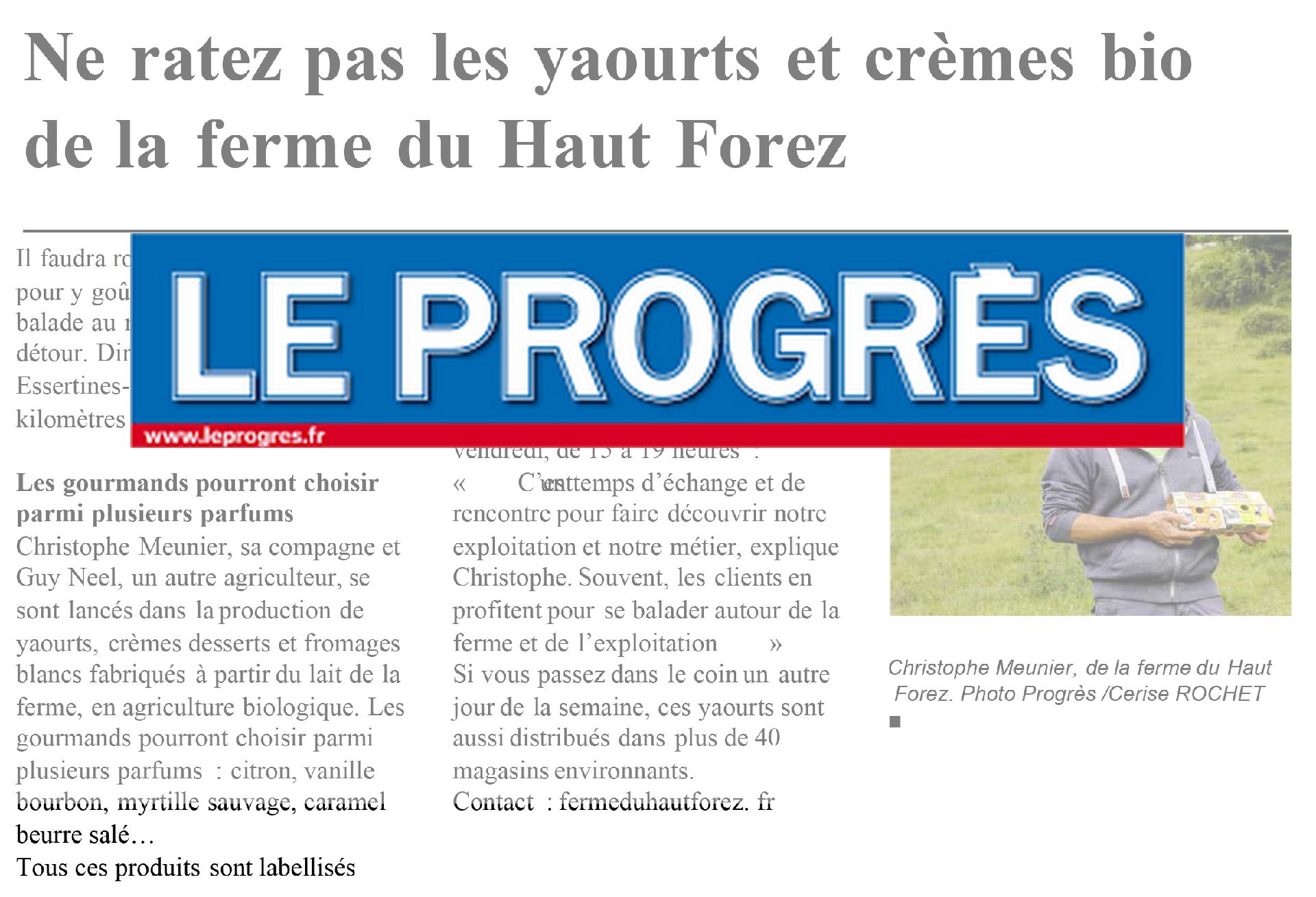 Le Progrès, article du 22/01/2020