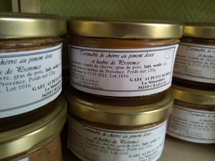 Tartinables - viande de chèvre, piment doux - 120g - Ferme de la Ménardière