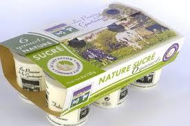 Lot de 6 yaourts nature sucré au lait entier fermier 125g