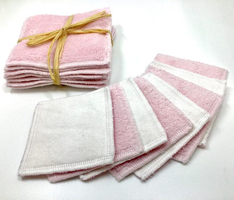 Carres démaquillants lavables rose(lot de 8, 8cmx8cm)