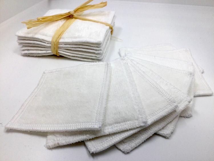 Lingettes lavables blanches (lot de 8, 11 cmx 11cm)