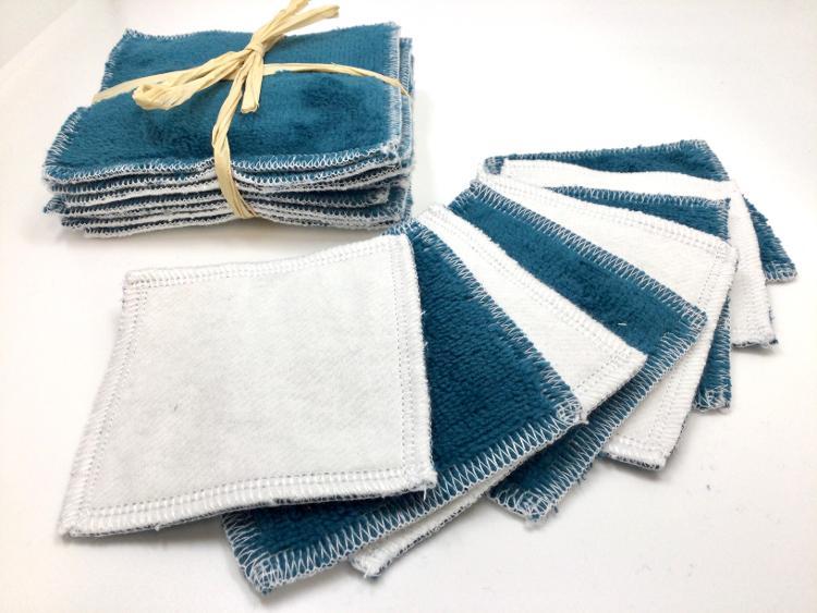 Carres démaquillants lavables bleu canard (lot de 8, 8cmx8cm)