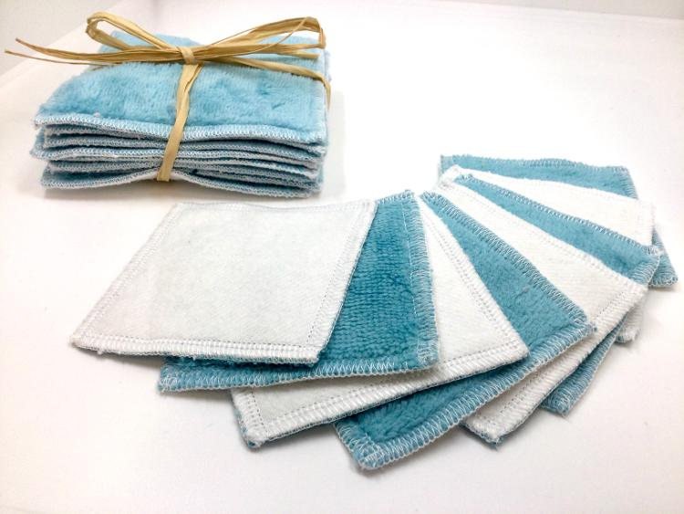 Carres démaquillants lavables bleu clair(lot de 8, 8cmx8cm)