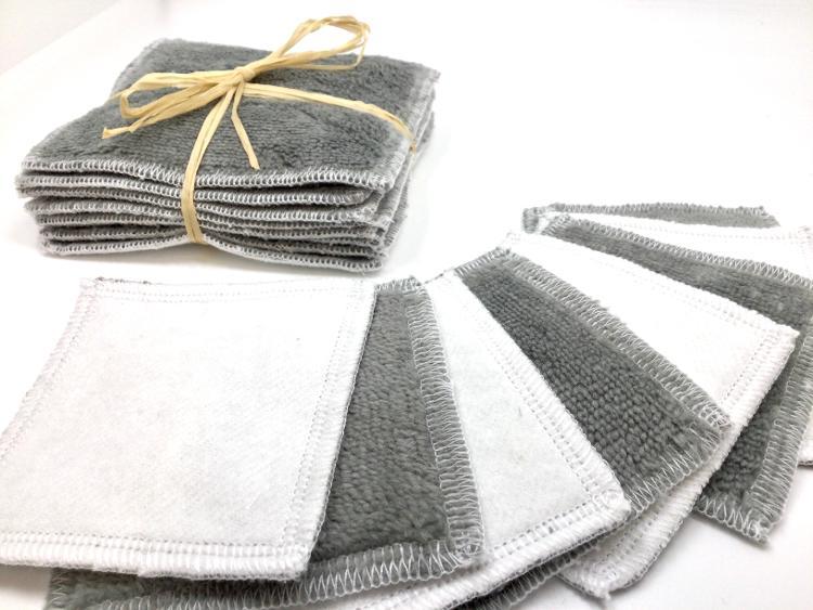 Carres démaquillants lavables gris (lot de 8, 8cmx8cm)