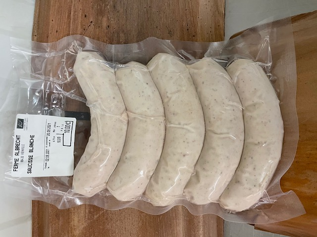 Sachet de saucisses blanches (environ 500 g, 5 saucisses) (Albrecht)