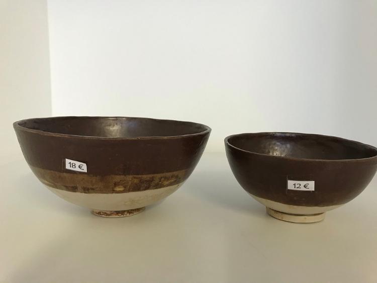 Bol brun avec effet bulles diamètre 13.5 cm hauteur 6.5 cm