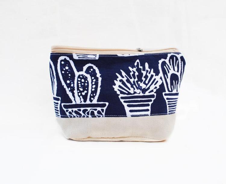 Pochette en tissu/coton batik bleu foncé