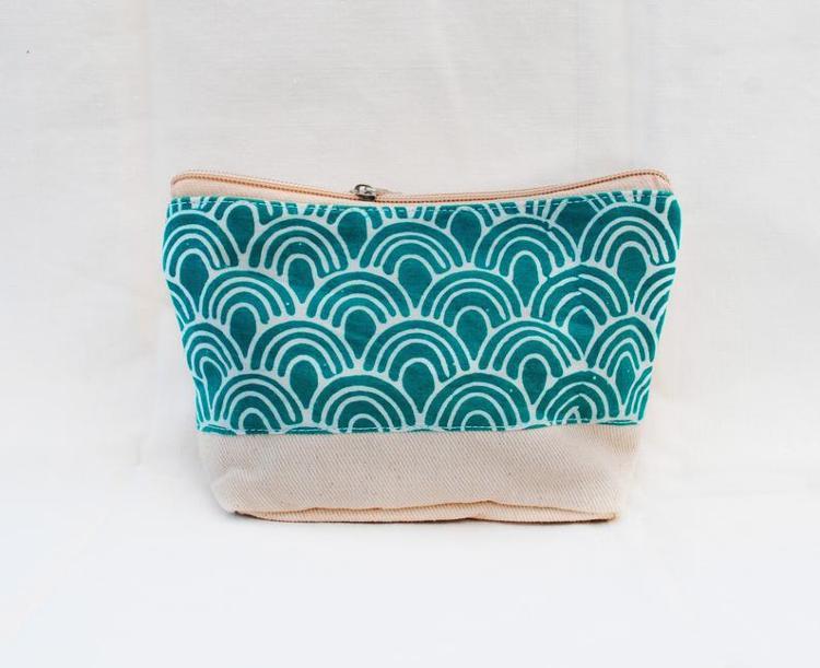 Pochette en tissu/coton batik turquoise
