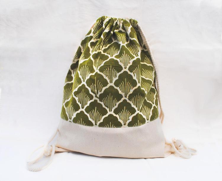 Sac à dos batik et coton vert
