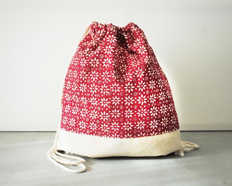 Sac à dos batik et coton rose