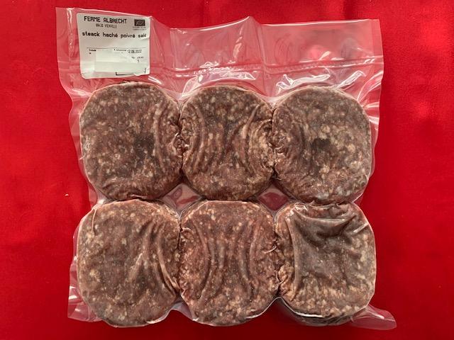 Lot de 6 steaks hachés angus poivrés salés (viande surgelée) (Albrecht)