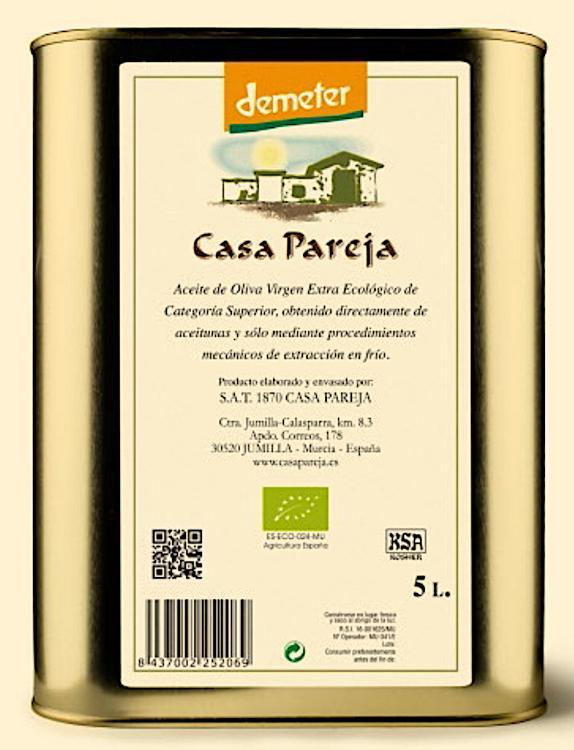 Huile d'olive biodynamique de Casa Pareja