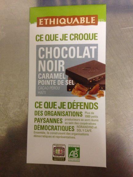 Tablette de chocolat noir caramel  pointe de sel  bio 100 g ( Nouveau)