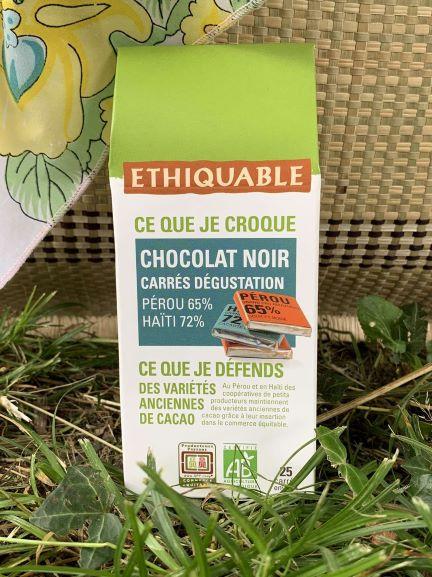 Boite carrés dégustation Haiti 72% Pérou 65% (100gr)