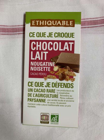 Tablette de chocolat lait nougatine noisettes bio