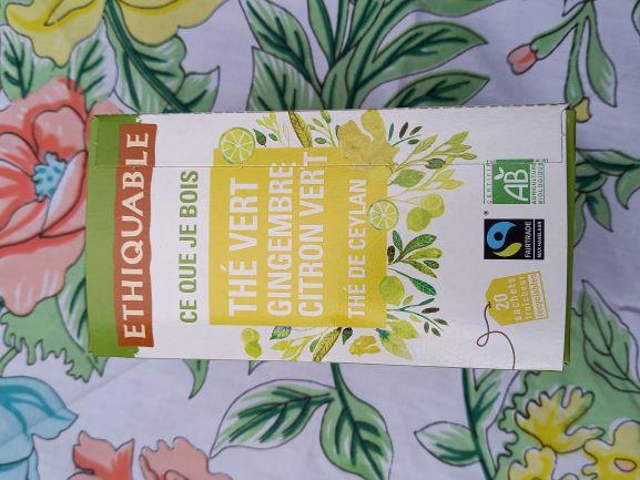 Boite thé vert gingembre citron Ceylan (20 sachets 36g)