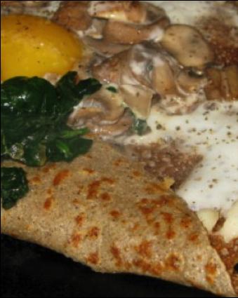 Galettes de sarrasin à l'oeuf et aux champignons