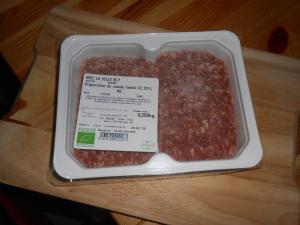 steak haché boeuf - pour le 15 oct - race limousine - 2x125gr - 15¤/kg