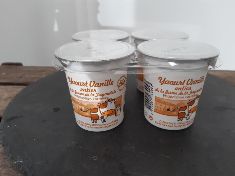 Yaourts entiers vanille (4X125gr)