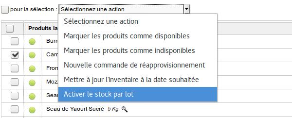 Activation du stock par lot