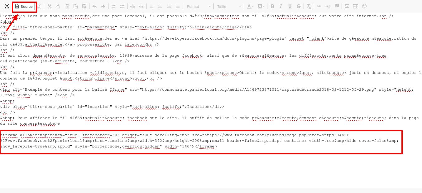 Mode source de l'éditeur de texte