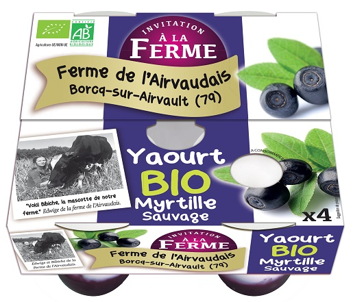 Yaourt bio et fermier à la Myrtille sauvage 4x125g