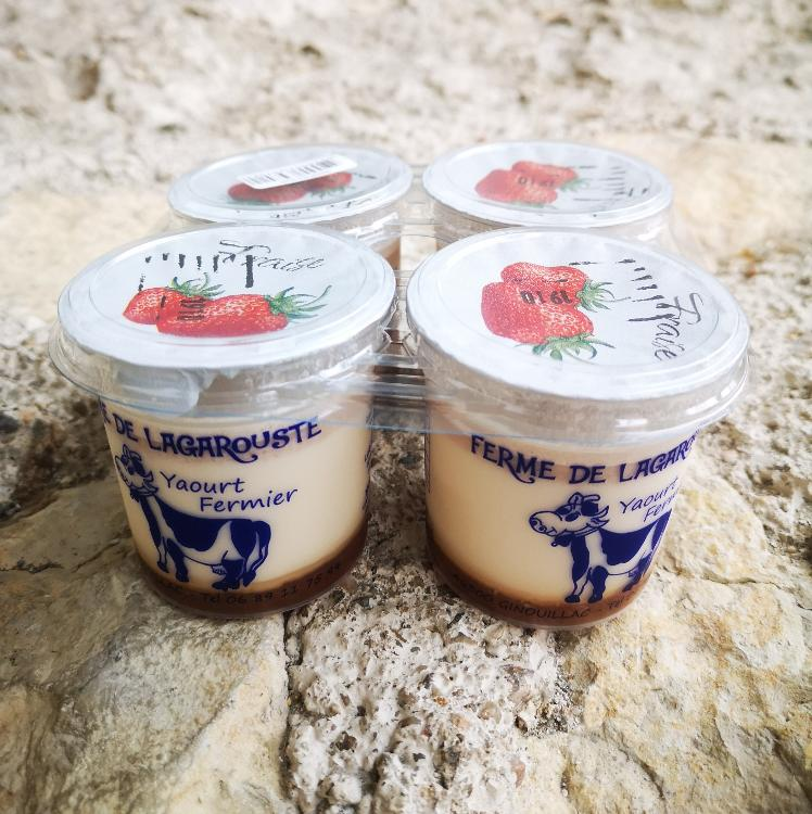 Yaourts aux fraises 4x125g - GAEC Lagarouste