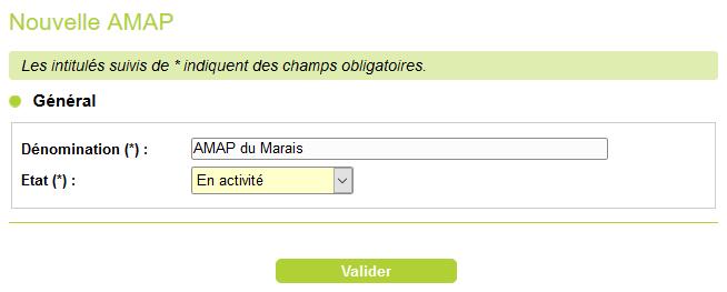 formulaire de création d'une AMAP