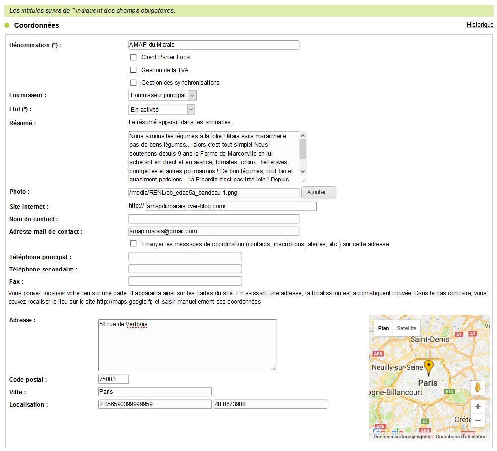 création amap formulaire coordonnées