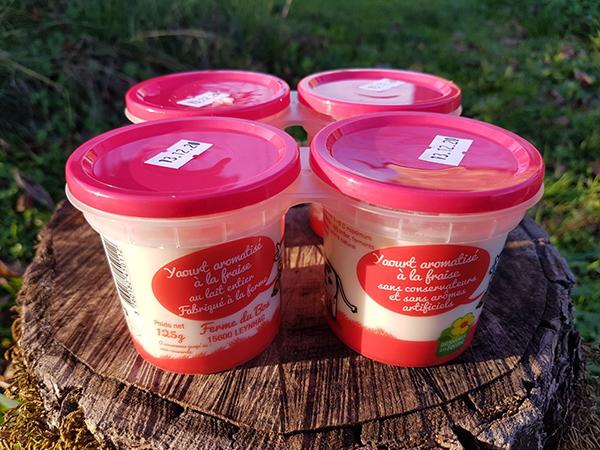 Yaourts à la fraise x 4 - Ferme du Bos