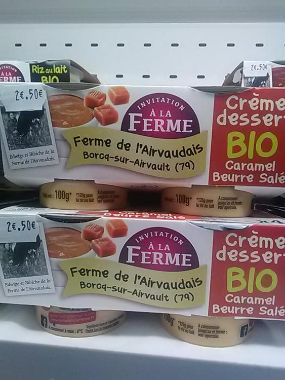 Crème dessert caramel beurre salé 4x 100g Ferme de l'airvaudais